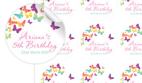 Butterflies Birthday Large 65mm Custom Stickers - Set Of 12 - Australia's #1 Kids Party Supplies