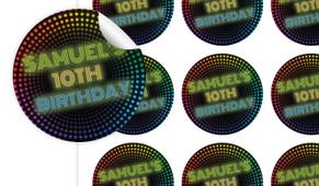 Disco Lights Birthday Large 65mm Custom Stickers - Set Of 12 - Australia's #1 Kids Party Supplies