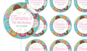 Donut Birthday Large 65mm Custom Stickers - Set Of 12 - Australia's #1 Kids Party Supplies