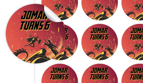 Dragon Birthday Large 65mm Custom Stickers - Set Of 12 - Australia's #1 Kids Party Supplies