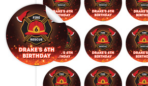 Firefighter Birthday Large 65mm Custom Stickers - Set Of 12 - Australia's #1 Kids Party Supplies