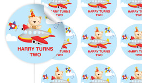 Bear Air Plane Birthday Large 65mm Custom Stickers - Set Of 12 - Australia's #1 Kids Party Supplies