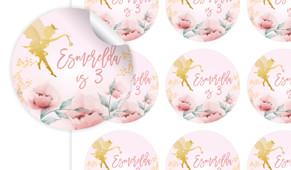 Little Fairy Birthday Large 65mm Custom Stickers - Set Of 12 - Australia's #1 Kids Party Supplies