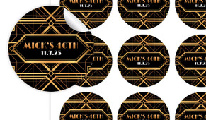 Gatsby Gold Birthday Large 65mm Custom Stickers - Set Of 12 - Australia's #1 Kids Party Supplies