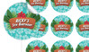 Hawaiian Luau Birthday Large 65mm Custom Stickers - Set Of 12 - Australia's #1 Kids Party Supplies