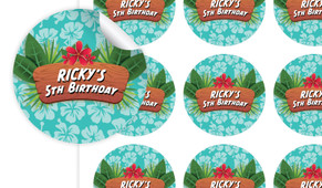 Hawaiian Luau Birthday Large 65mm Custom Stickers - Set Of 12 - Australia's #1 Kids Party Supplies