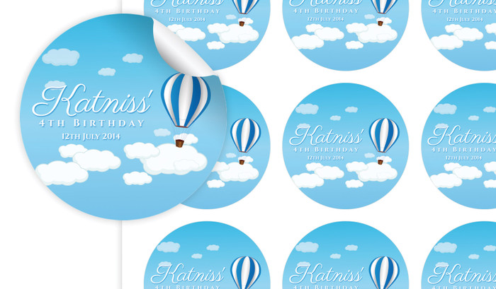 Hot Air Balloon Birthday Large 65mm Custom Stickers - Set Of 12 - Australia's #1 Kids Party Supplies