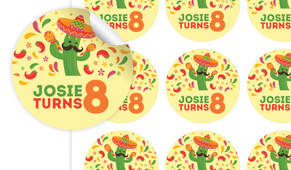 Mexican Fiesta Birthday Large 65mm Custom Stickers - Set Of 12 - Australia's #1 Kids Party Supplies