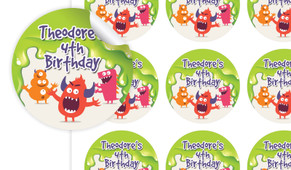 Monster Slime Birthday Large 65mm Custom Stickers - Set Of 12 - Australia's #1 Kids Party Supplies
