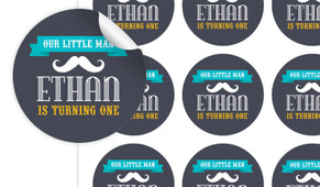Moustache Birthday Large 65mm Custom Stickers - Set Of 12 - Australia's #1 Kids Party Supplies