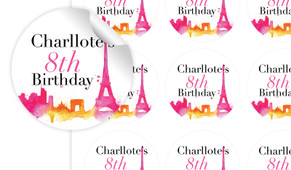 Paris Watercolour Birthday Large 65mm Custom Stickers - Set Of 12 - Australia's #1 Kids Party Supplies
