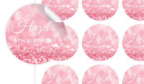 Pink Glitter Birthday Large 65mm Custom Stickers - Set Of 12 - Australia's #1 Kids Party Supplies