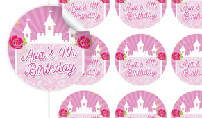 Princess Castle Birthday Large 65mm Custom Stickers - Set Of 12 - Australia's #1 Kids Party Supplies