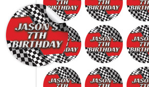 Racing Car Birthday Large 65mm Custom Stickers - Set Of 12 - Australia's #1 Kids Party Supplies