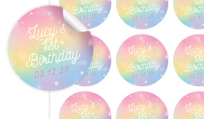 Rainbow Sparkle Birthday Large 65mm Custom Stickers - Set Of 12 - Australia's #1 Kids Party Supplies