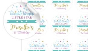 Twinkle Star 1st Birthday Birthday Large 65mm Custom Stickers - Set Of 12 - Australia's #1 Kids Party Supplies