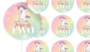 Unicorn Dabbing Birthday Large 65mm Custom Stickers - Set Of 12 - Australia's #1 Kids Party Supplies