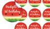 Watermelon Birthday Large 65mm Custom Stickers - Set Of 12 - Australia's #1 Kids Party Supplies