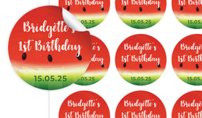 Watermelon Birthday Large 65mm Custom Stickers - Set Of 12 - Australia's #1 Kids Party Supplies