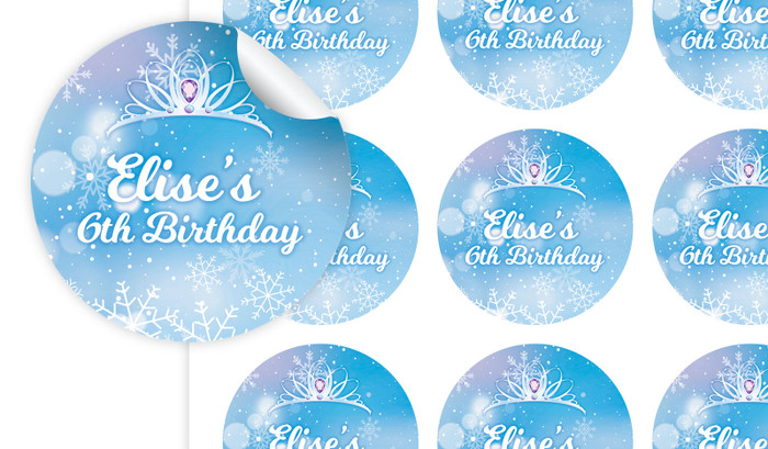 Ice Princess Birthday Large 65mm Custom Stickers - Set Of 12