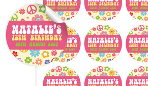 60s Hippy Birthday Large 65mm Custom Stickers - Set Of 12