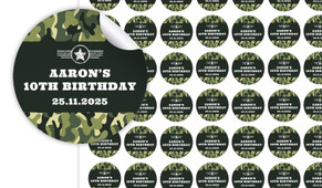Army Birthday Small 25mm Custom Stickers - Set Of 70 - Australia's #1 Kids Party Supplies