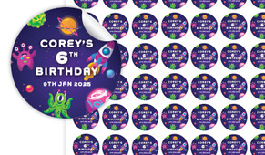 Outerspace Birthday Small 25mm Custom Stickers - Set Of 70 - Australia's #1 Kids Party Supplies