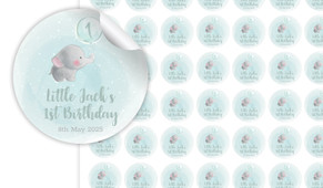 Elephant Balloon Birthday Birthday Small 25mm Custom Stickers - Set Of 70 - Australia's #1 Kids Party Supplies