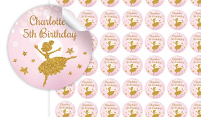 Golden Ballerina Birthday Small 25mm Custom Stickers - Set Of 70 - Australia's #1 Kids Party Supplies