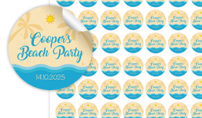 Beach Birthday Small 25mm Custom Stickers - Set Of 70 - Australia's #1 Kids Party Supplies