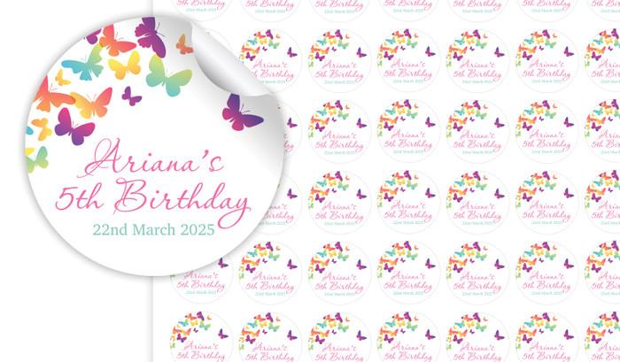 Butterflies Birthday Small 25mm Custom Stickers - Set Of 70 - Australia's #1 Kids Party Supplies