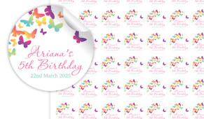Butterflies Birthday Small 25mm Custom Stickers - Set Of 70 - Australia's #1 Kids Party Supplies