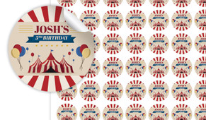 Retro Circus Birthday Small 25mm Custom Stickers - Set Of 70 - Australia's #1 Kids Party Supplies