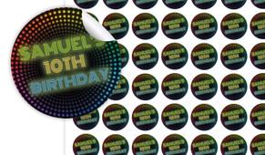 Disco Lights Birthday Small 25mm Custom Stickers - Set Of 70 - Australia's #1 Kids Party Supplies