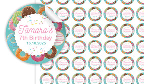 Donut Birthday Small 25mm Custom Stickers - Set Of 70 - Australia's #1 Kids Party Supplies