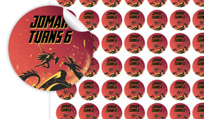 Dragon Birthday Small 25mm Custom Stickers - Set Of 70 - Australia's #1 Kids Party Supplies