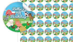 Down The Farm Birthday Small 25mm Custom Stickers - Set Of 70 - Australia's #1 Kids Party Supplies