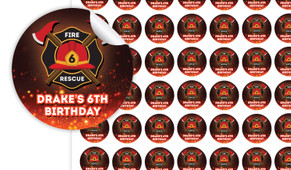 Firefighter Birthday Small 25mm Custom Stickers - Set Of 70 - Australia's #1 Kids Party Supplies