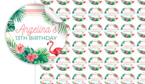 Flamingle Flamingo Birthday Small 25mm Custom Stickers - Set Of 70 - Australia's #1 Kids Party Supplies