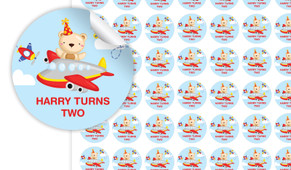 Bear Air Plane Birthday Small 25mm Custom Stickers - Set Of 70 - Australia's #1 Kids Party Supplies