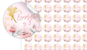 Little Fairy Birthday Small 25mm Custom Stickers - Set Of 70 - Australia's #1 Kids Party Supplies