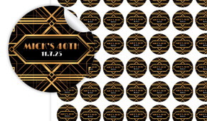 Gatsby Gold Birthday Small 25mm Custom Stickers - Set Of 70 - Australia's #1 Kids Party Supplies