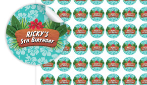 Hawaiian Luau Birthday Small 25mm Custom Stickers - Set Of 70 - Australia's #1 Kids Party Supplies