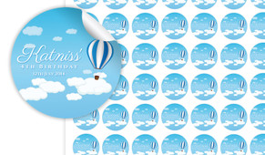 Hot Air Balloon Birthday Small 25mm Custom Stickers - Set Of 70 - Australia's #1 Kids Party Supplies