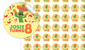 Mexican Fiesta Birthday Small 25mm Custom Stickers - Set Of 70 - Australia's #1 Kids Party Supplies