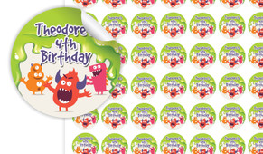 Monster Slime Birthday Small 25mm Custom Stickers - Set Of 70 - Australia's #1 Kids Party Supplies