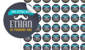 Moustache Birthday Small 25mm Custom Stickers - Set Of 70 - Australia's #1 Kids Party Supplies