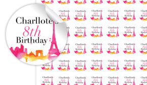Paris Watercolour Birthday Small 25mm Custom Stickers - Set Of 70 - Australia's #1 Kids Party Supplies