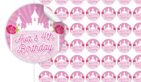Princess Castle Birthday Small 25mm Custom Stickers - Set Of 70 - Australia's #1 Kids Party Supplies
