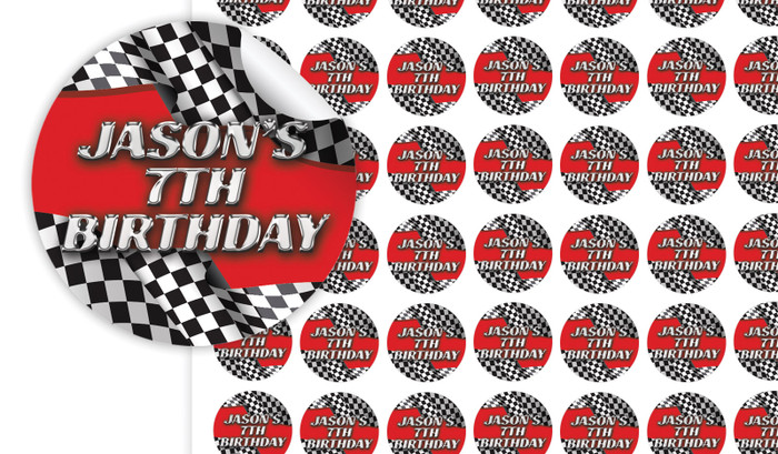 Racing Car Birthday Small 25mm Custom Stickers - Set Of 70 - Australia's #1 Kids Party Supplies